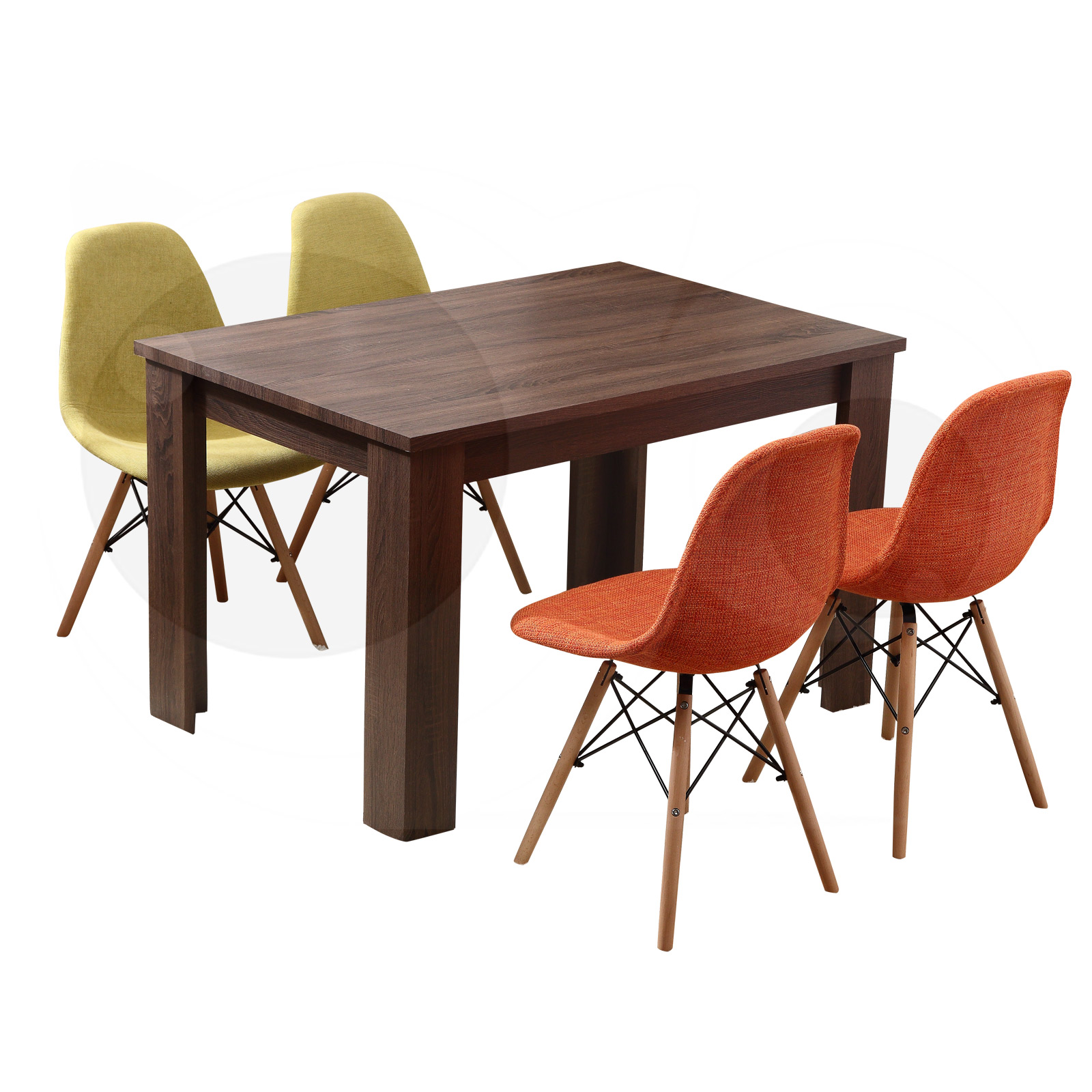 Erica Dining Table DARK BROWN + 4X Dining Chair