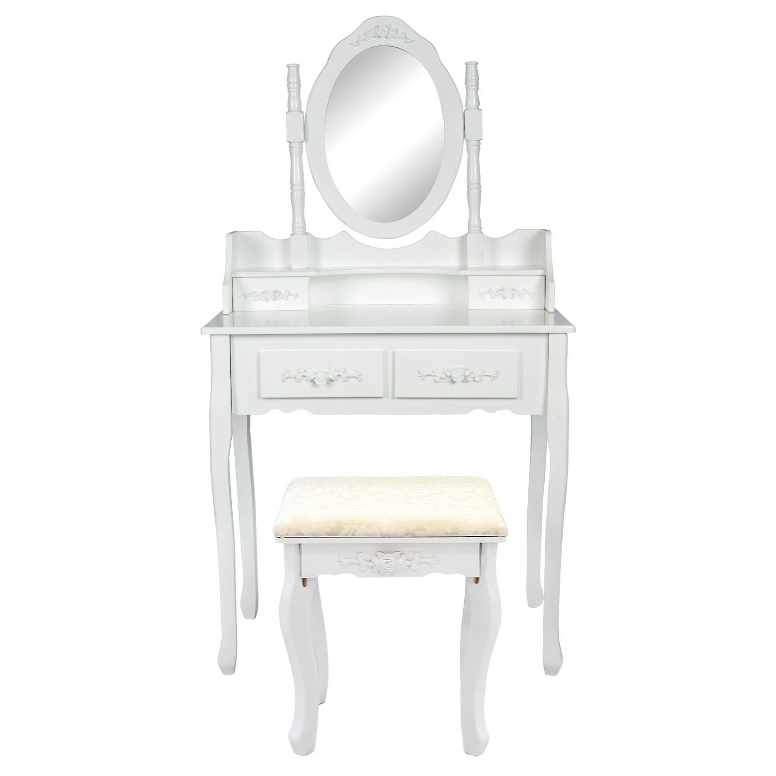 Dressing Table 4 Drawers 1 Mirror - ANGELLA WHITE