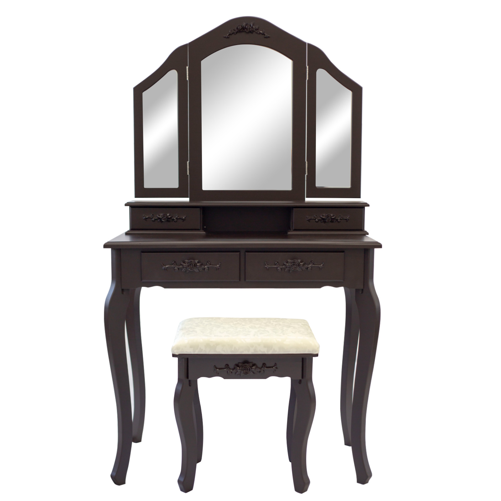 3 Mirrors 4 Drawers Dressing Table - DIANA BROWN
