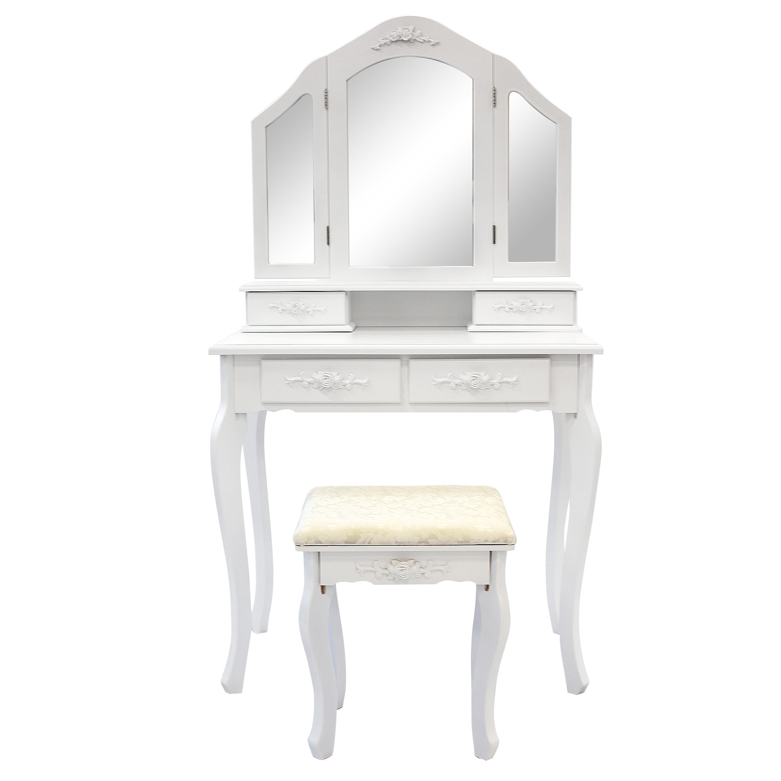 3 Mirrors 4 Drawers Dressing Table - DIANA WHITE