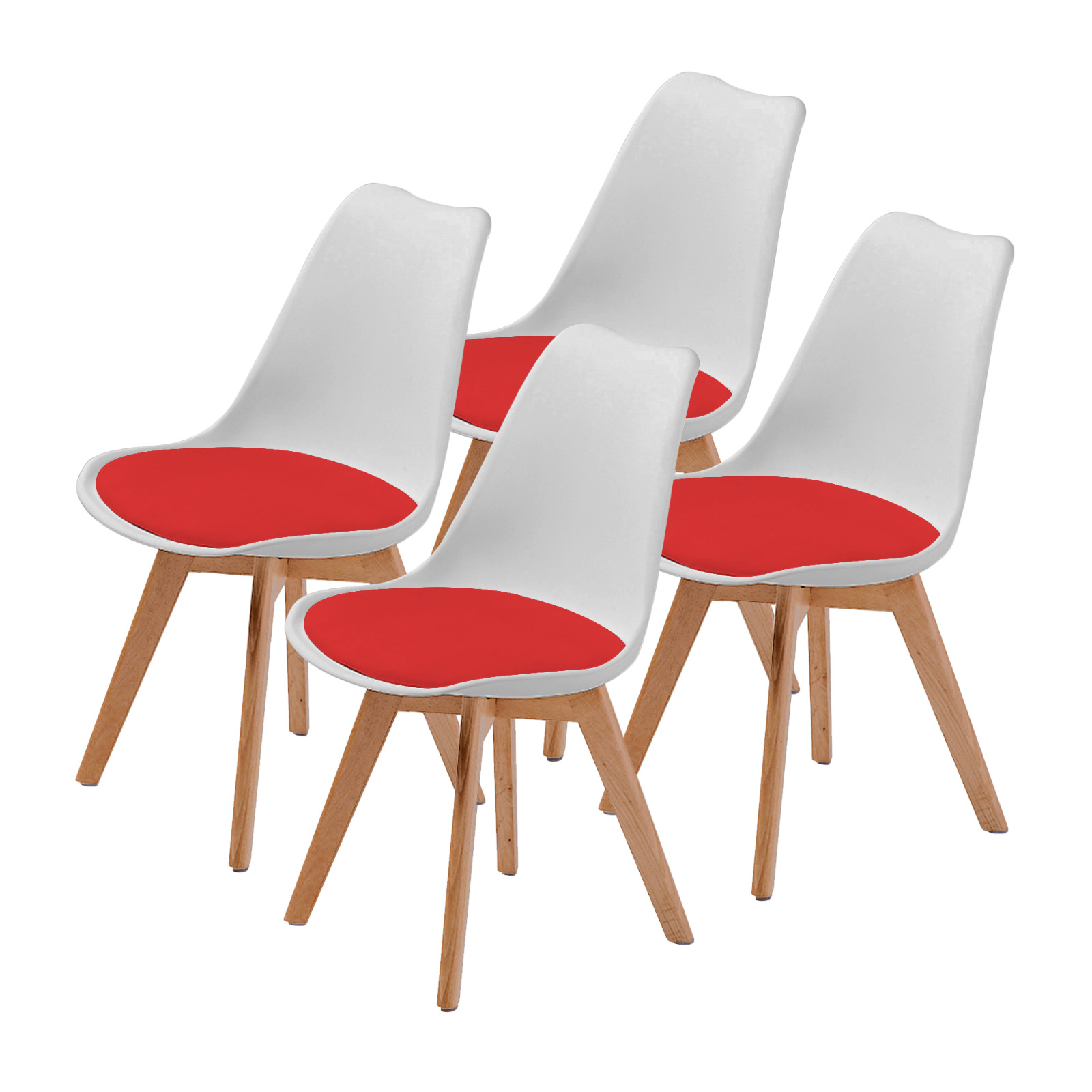 4X Padded Seat Dining Chair - WHITE + RED