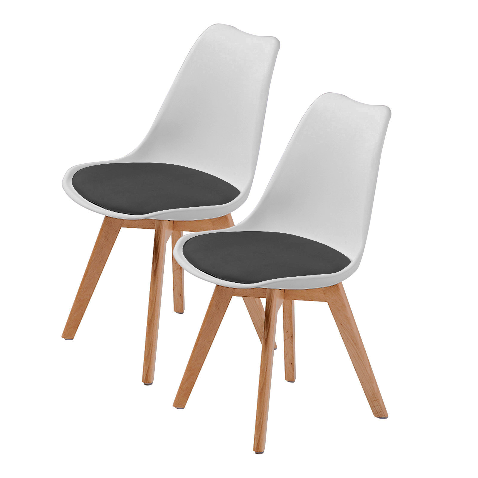 2X Padded Seat Dining Chair - WHITE + BLACK