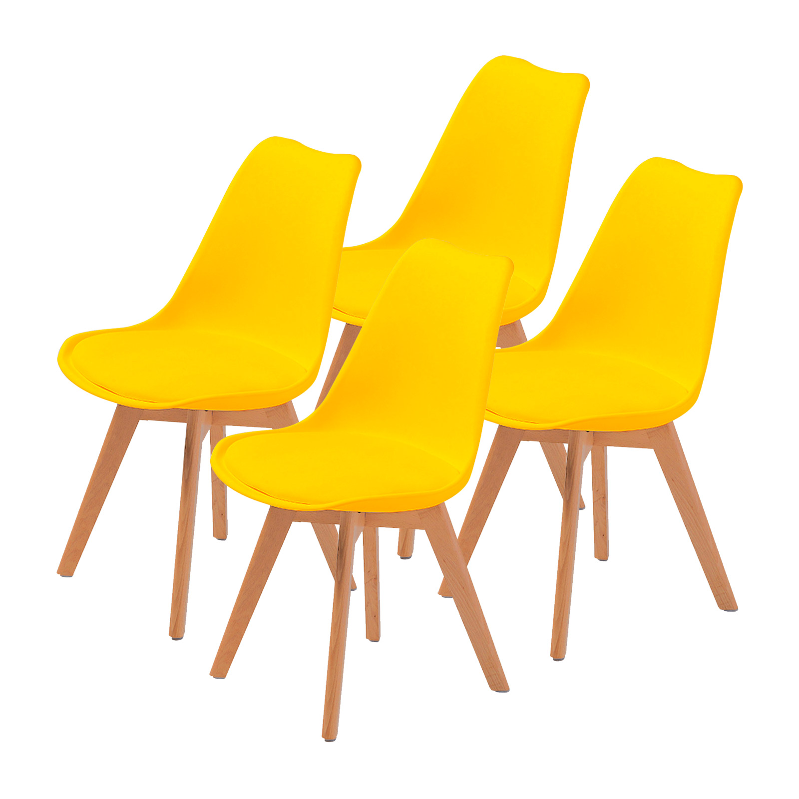 4X Padded Seat Dining Chair - YELLOW