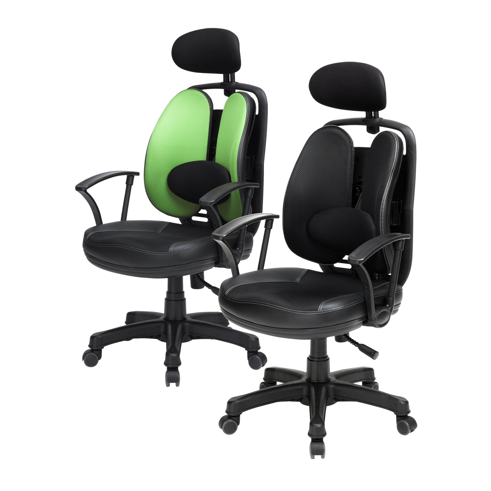 Korean Office Chair SUPERB BLACK - GREEN