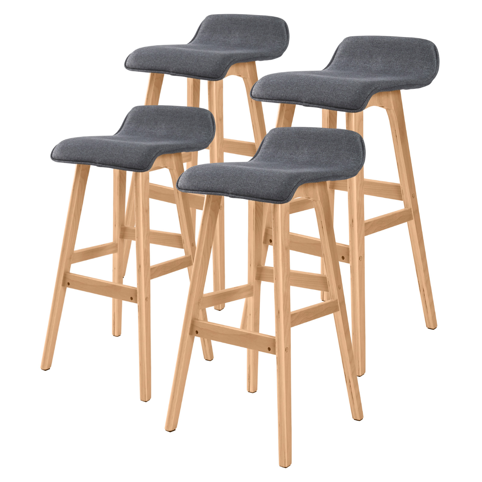 4x Oak Wood Bar Stool 74cm Fabric SOPHIA - GREY