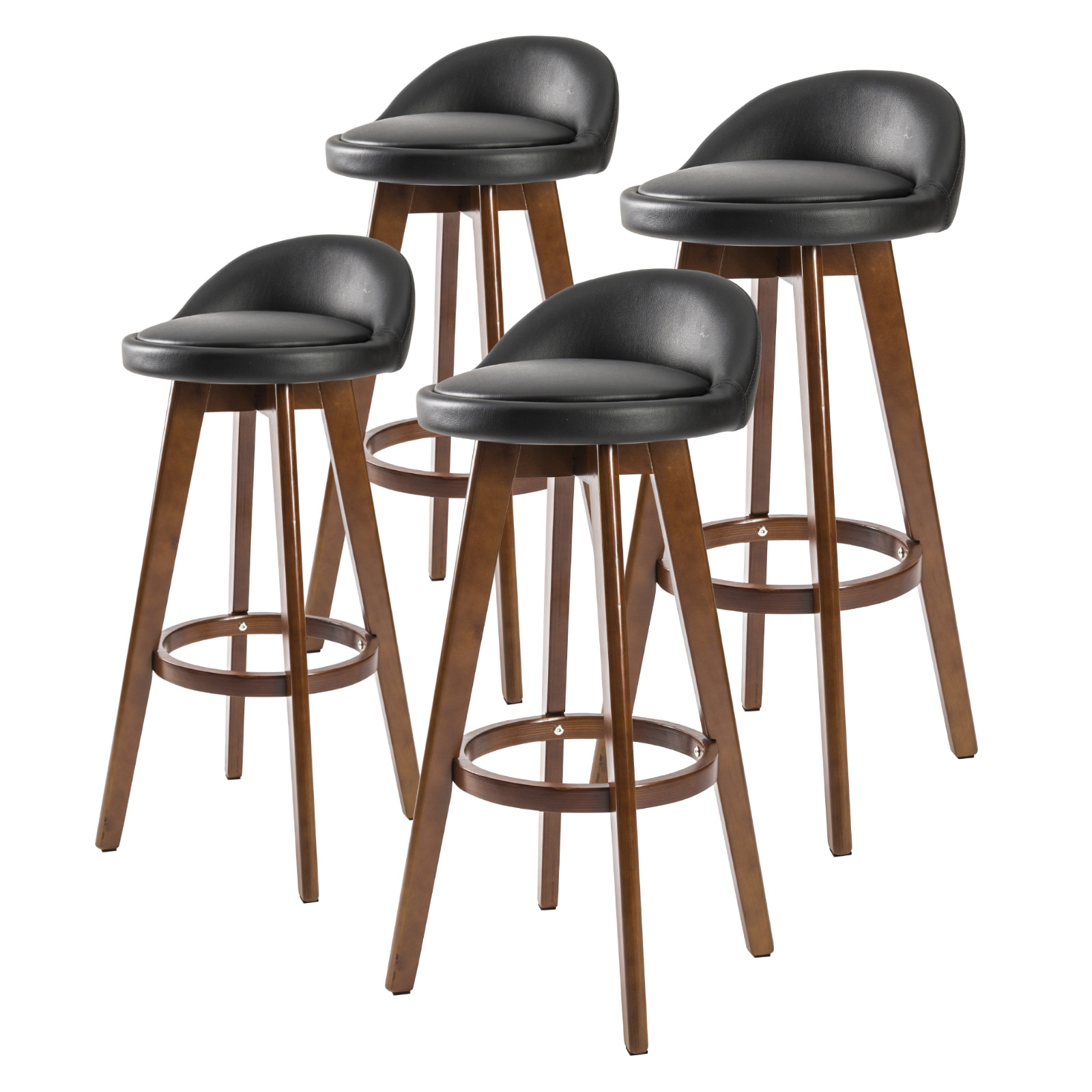 4X 72cm Oak Wood Bar Stool Leather LEILA - BLACK BROWN