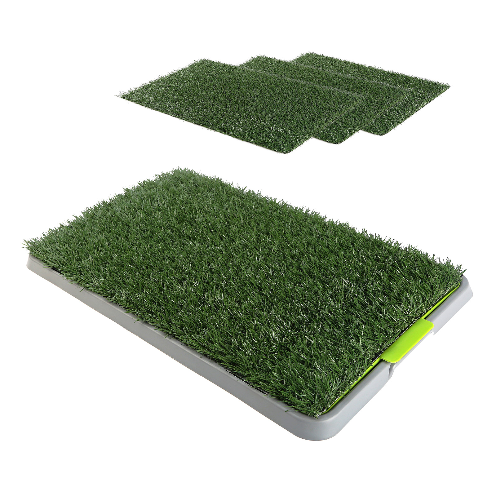 Pet Potty Training Pad Tray 69 x 43cm - 4 Grass Mat