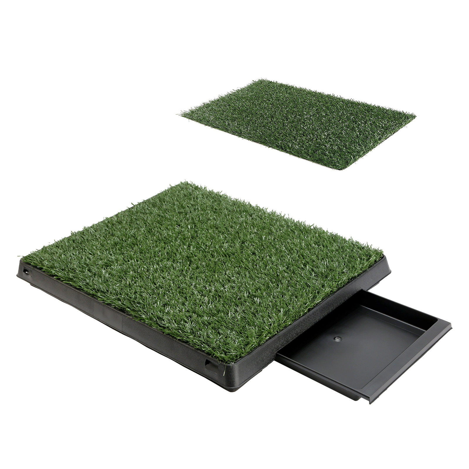 Pet Potty Training Pad Tray L 63 x 50cm - 2 Grass Mat