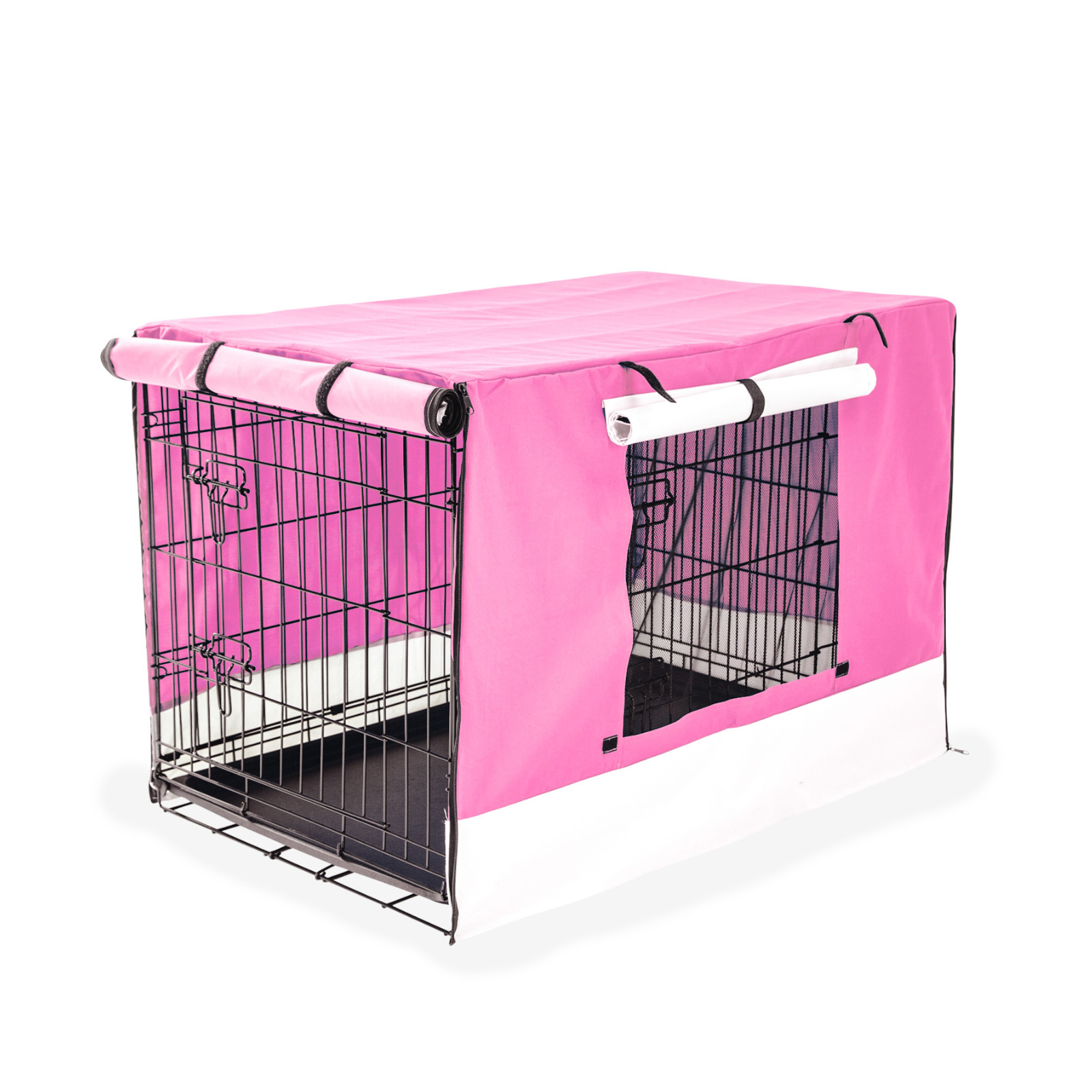 "30"" Foldable Wire Dog Cage with Tray + PINK Cover"
