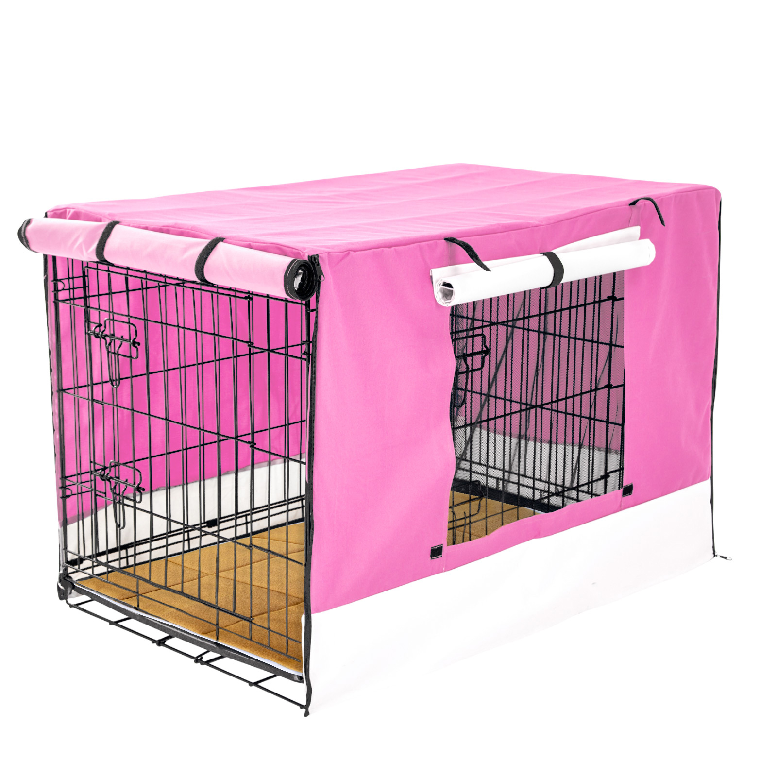 "48"" Foldable Wire Dog Cage with Tray + Cushion Mat + PINK Cover"
