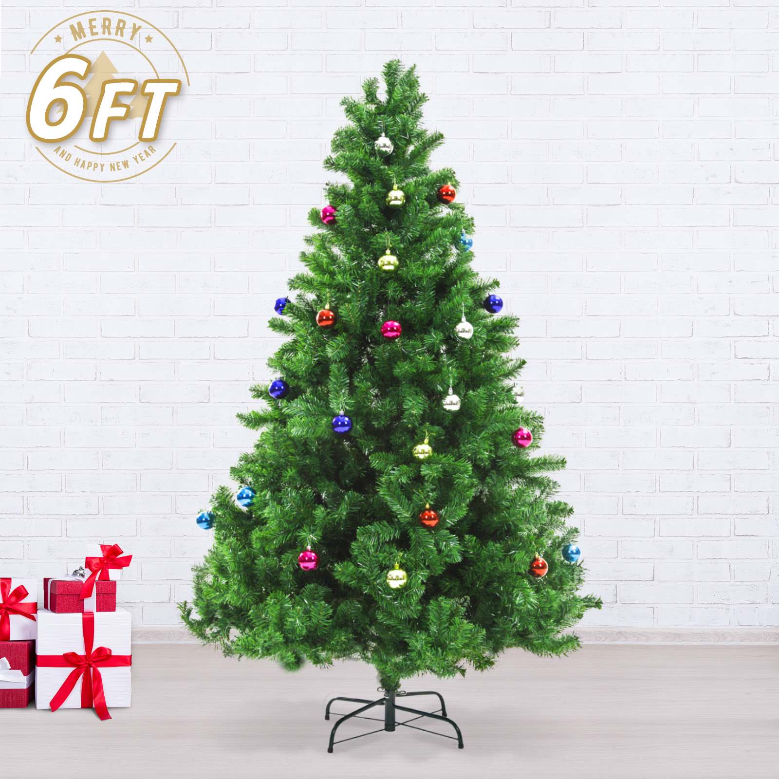 6Ft 180cm Green Artificial Xmas Tree - BAUBLES